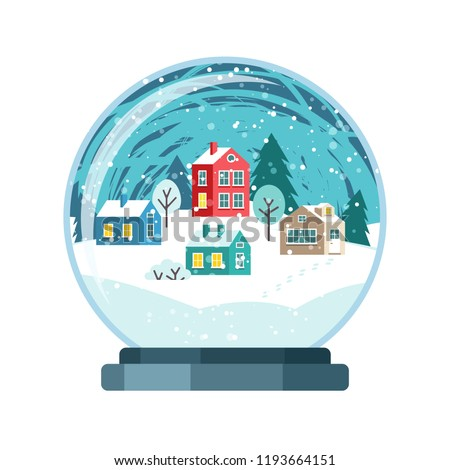 Christmas snow globe with small houses. Isolated vector illusrtation