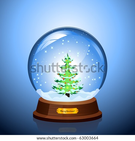 Christmas Snow globe with the falling snow and Christmas tree inside