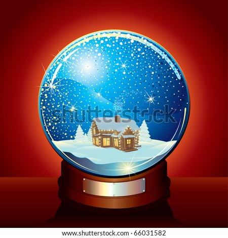 Christmas Snow globe with tranquil winter composition and falling snow