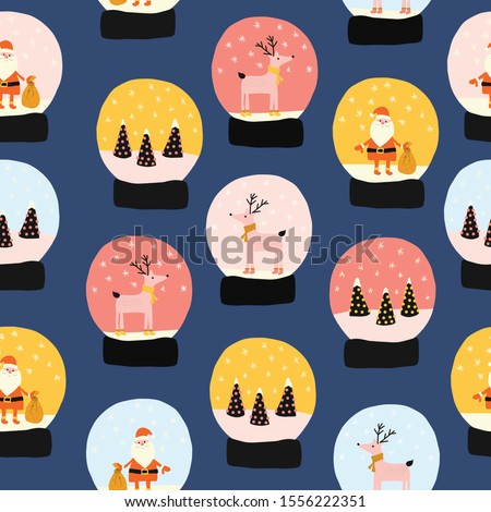 Christmas Snow globes seamless vector pattern. Hand drawn snowglobes with falling snow, Santa Claus, Xmas tree, reindeer repeating background. Cute Merry Christmas glass ball gift illustration.