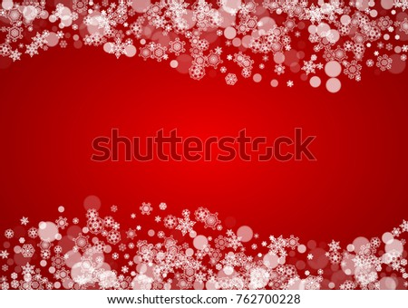 Christmas snow on red background. Santa Claus colors. Horizontal frame for winter banner, gift coupon, voucher, ad, party event. New Year and Christmas snow design. Falling snowflakes for celebration #762700228