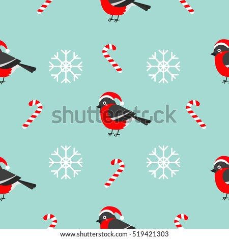 Christmas snowflake candy cane, bullfinch bird wearing red santa hat. Seamless Pattern Decoration. Wrapping paper, textile template. Blue background. Flat design. Vector illustration.