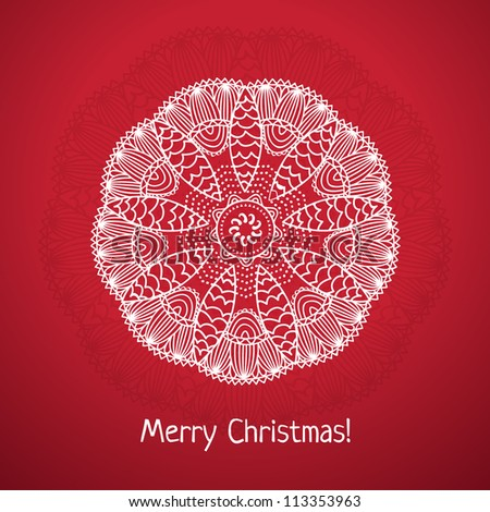 Christmas snowflake card - stock vector
