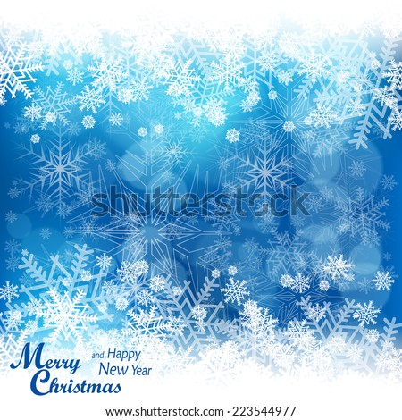 Christmas snowflake pattern in blue & text, winter design, vector illustration