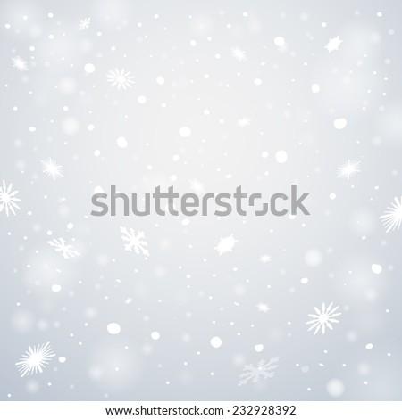 Christmas snowflakes background. Falling snowflakes on snow. Vector illustration, eps 10.