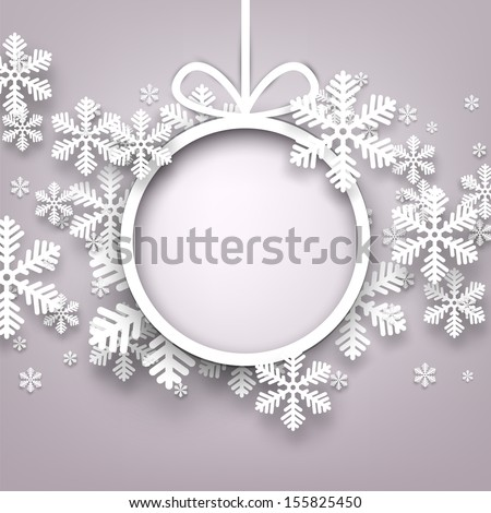 Christmas snowflakes background with paper round ball. Vector eps10.