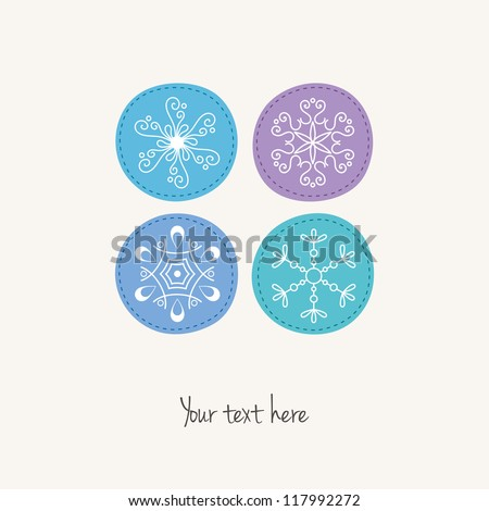 Christmas snowflakes card - stock vector