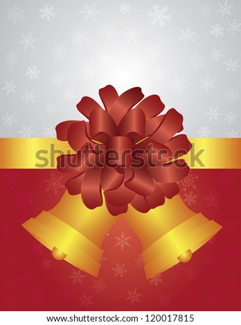 Christmas Snowflakes Gift Wrapping Background with Bows and Golden Bells Illustration Vector