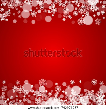 Christmas snowflakes on red background. Frame for seasonal winter banners, gift coupons, vouchers, ads, party events. Santa Claus colors with Christmas snowflakes. Falling snow for holiday celebration #742971937