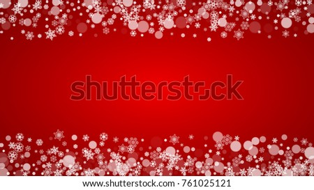Christmas snowflakes on red background. Santa Claus colors. Horizontal Christmas snowflakes frame for holiday banners, cards, sales, special offers. Falling snow with bokeh for party celebration #761025121