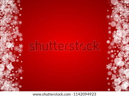 Christmas snowflakes on red background. Santa Claus colors. Horizontal frame for winter banner, gift coupon, voucher, ads, party events with Christmas snowflakes. Falling snow for holiday celebration #1142094923