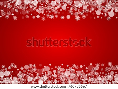 Christmas snowflakes on red background. Santa Claus colors. Horizontal frame for winter banner, gift coupon, voucher, ads, party events with Christmas snowflakes. Falling snow for holiday celebration #760735567