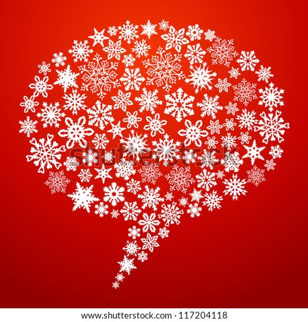 Christmas snowflakes social media networks speech bubble. Vector illustration layered for easy manipulation and custom coloring.