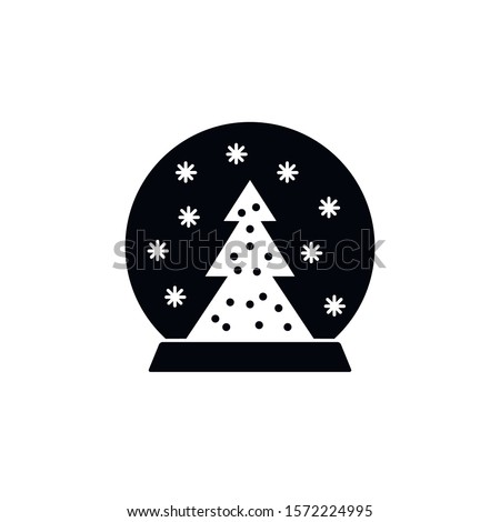 Christmas snowglobe vector icon. filled flat sign for mobile concept and web design. Snowglobe with pine tree and snowflakes  glyph icon. Symbol, logo illustration. Vector graphics