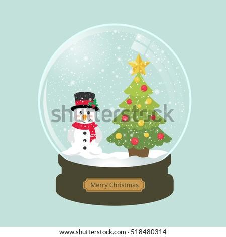 christmas snowglobe with fir...