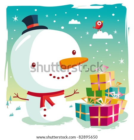 Christmas - snowman and his gifts