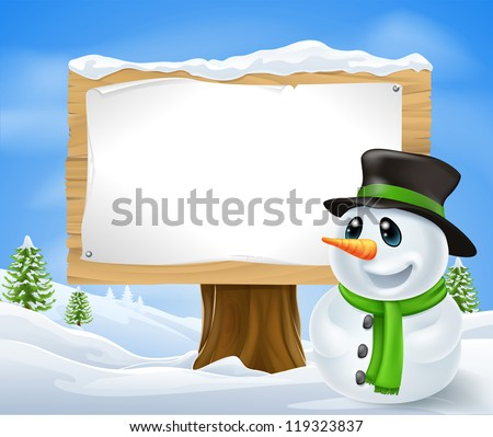 Christmas Snowman and large wooden Christmas sign with copyspace