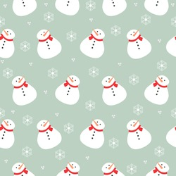 Christmas snowman and snowflakes green red and white pattern