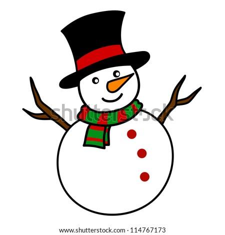 Christmas Snowman Hand Writing Cartoon Stock Vector