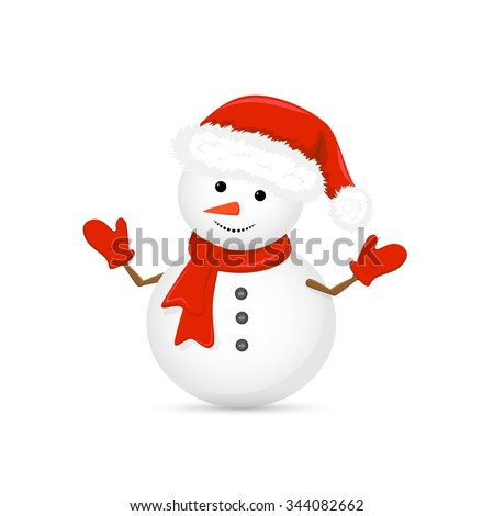 Stock Photo Christmas snowman in Santa hat and red scarf isolated on white background, illustration.