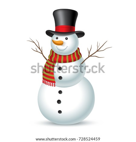 Christmas snowman isolated on white background. Vector illustration Сток-фото ©