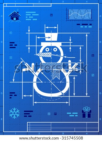 Christmas snowman symbol as blueprint drawing. Drafting of winter snowperson on blueprint paper. Vector image for winter holiday, new year's day, christmas, decoration, snow sculpture, new year's eve