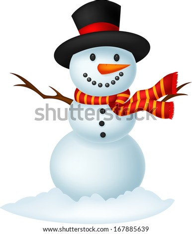 Stock Photo Christmas Snowman wearing a Hat and red scarf