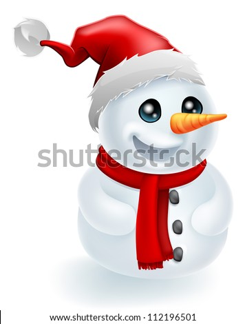 Christmas Snowman wearing a Santa Hat and red scarf