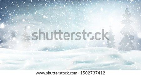 Christmas, Snowy Woodland landscape. Holiday winter landscape for Merry Christmas with Snowstorm, blizzard, firs, coniferous forest, snow, snowflakes. Christmas scene. Happy new year. vector.