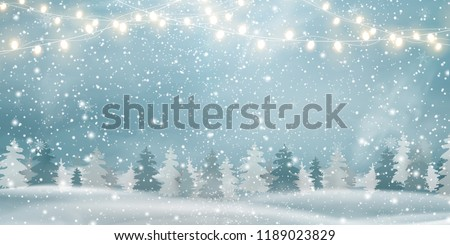 Christmas, Snowy  Woodland landscape  with firs, coniferous forest, light garlands, falling snow, snowflakes for winter and new year holidays. Holiday winter landscape. Christmas vector background.