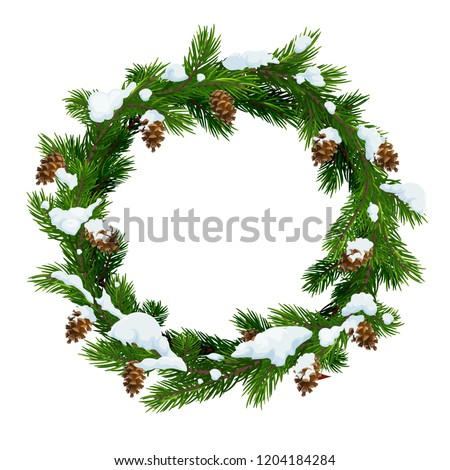 Christmas snowy wreath frame of pine, fir and spruce tree green branches with snow and cones. Vector Xmas and New Year winter holidays decoration design