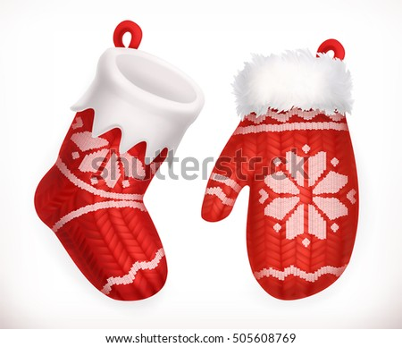Christmas sock and winter knitted mitten. 3d vector icon