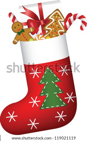 Christmas sock full of candies, cookies and gift