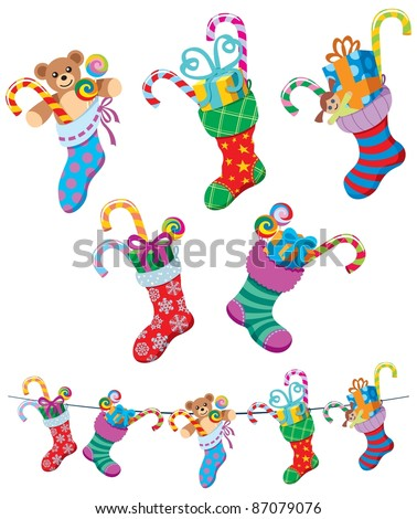 Christmas Socks: 5 cartoon Christmas stockings over white background.  No transparency and gradients used.