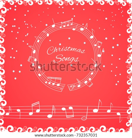 Christmas songs cover illustration. Musical background with notes