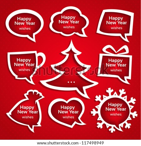 Christmas speech bubles applique set various shapes with New Year Greetings