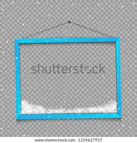 Christmas square photo frame with snow and shadow on transparent background. Wooden blue plank with snowflake bottom. Photograph empty blank holiday celebration template