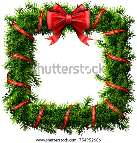 Christmas square wreath with red bow and ribbon. Decorated rectangle frame of pine branches isolated on white. Best vector image for new years day, christmas, decoration, winter holiday, design, etc