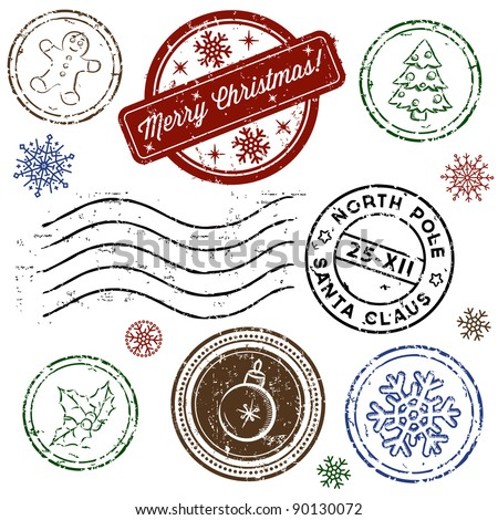 Christmas stamp set isolated on white. Vector
