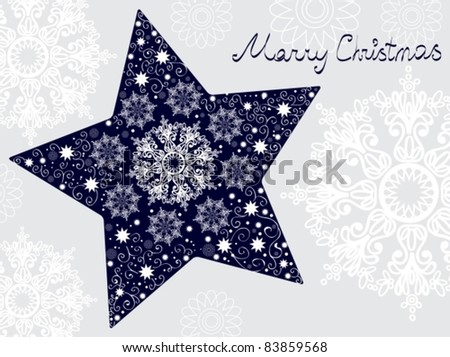 Christmas star illustration - postcard with a star over gray background with snowflakes