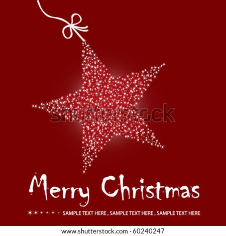 Christmas star illustration postcard with a twinkling red star