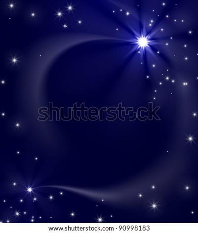 Christmas star on blue sky