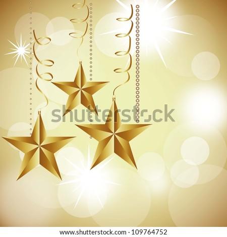 christmas stars on abstract white lights background. vector illustration - stock vector