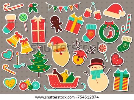 Christmas sticker icon set. Vintage christmas and Happy New Year elements. Vector illustration. Isolated on gray background.