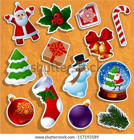 Christmas sticker icons. Vector.