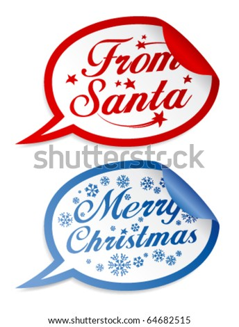 Christmas stickers in form of speech bubbles.