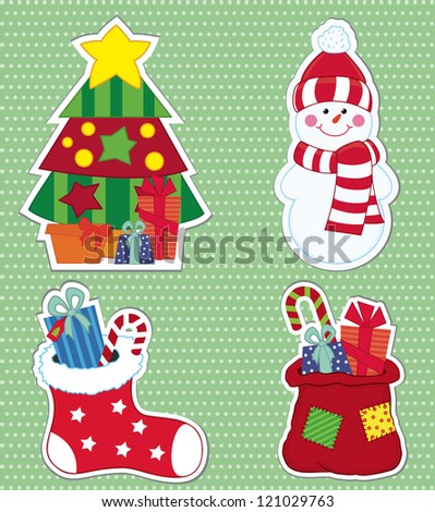 Christmas stickers. Vector illustration