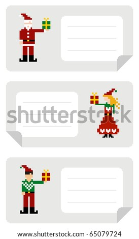 Christmas stiker with different funny pixeled elf holding a gift.