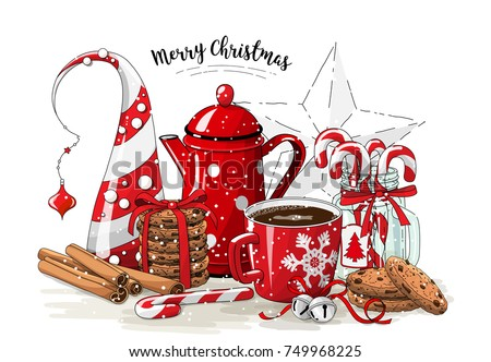 christmas still life  red tea...