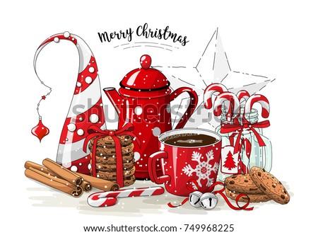 christmas still life  red tea